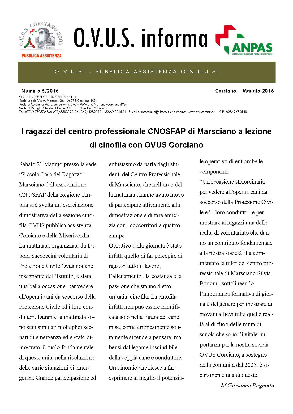 OVUS informa cinofila maggio 05 pag1